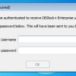 DESlock authentication